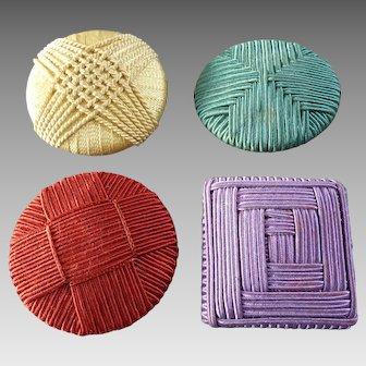 "Last ones: 4 Colourful X-Large Art Deco Passementerie Buttons 2"" to 2 7/16"""