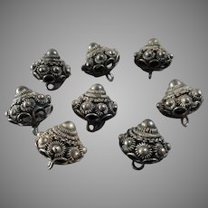 """Eight Antique 830 Silver Filigree Buttons Traditional Costume 5/8"""""""