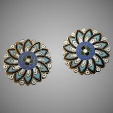 "A Pair of Antique Victorian Enamelled Lapel Stud Buttons 1 1/16"""