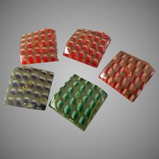 """Five Large Vintage Lucite Acrylic Resin Buttons Three Dimensional Pattern 1 5/8""""- Hairline Cracks"""