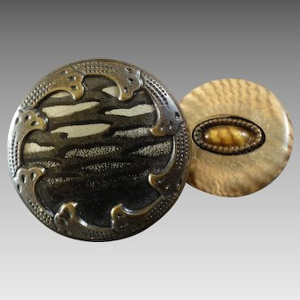 """Two Antique Art Nouveau Celluloid Metal / Tight Top Buttons 3/4"""" and 1 1/16"""""""