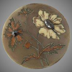 """Large Antique Art Nouveau Celluloid Cut Steel Button Flowers 1 7/16"""""""