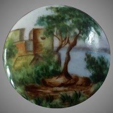 """Antique Victorian Painted Porcelain Button Pittoresque Landscape 1 3/16"""""""