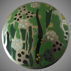 "Large Vintage Art Deco Stencil Printed White Metal Button Stylized Garden 1 13/16"""