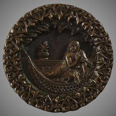 """Large Antique Victorian Metal Picture Button Cleopatra? Woman on Hammock 1 7/16"""""""
