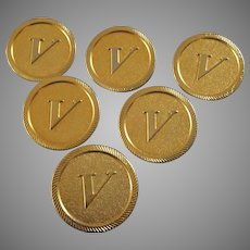 """Vintage Set of Six 1990s Gold Plated Valentino Buttons 1 3/16"""""""