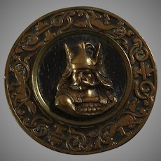 """Large Antique Victorian Metal Wood Picture Button Warrior Viking Thor 1 3/8"""" Signed"""