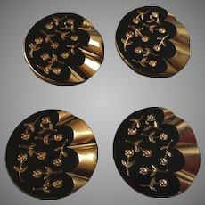 "Four Large Vintage Czech Black Golden Glass Flower Buttons 1 3/8"""