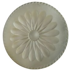 Large Antique Late Georgian Early Victorian Carved Mother of Pearl Daisy Button 1 5/16""