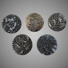 "Five Large Vintage Czech Black Platinized Glass Buttons 1 3/8"" to 1 7/16"""