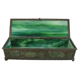 Rare Early Tiffany Studios Pine Needle Bronze And Favrile Glass XXL Glove Box