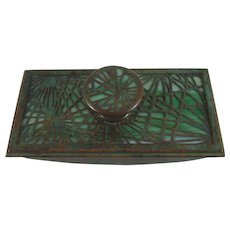 Early Tiffany Studios Bronze And Favrile Glass Pine Needle Rocker Blotter
