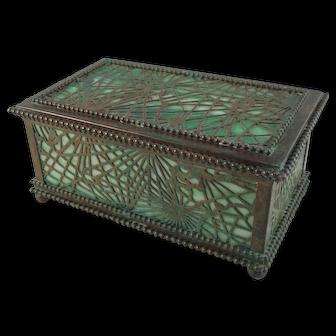Rare Early Tiffany Studios Pine Needle Bronze And Favrile Glass Jewelry Box
