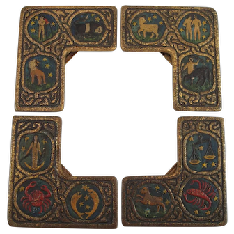 Tiffany Studios Bronze Zodiac Pattern Enameled Blotter Corners