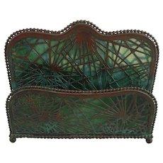 Tiffany Studios Pine Needle Pattern Side By Side Bronze & Glass Letter Rack