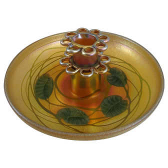 Beautiful Rare Tiffany Studios Favrile Glass Carved And Decorated Flower Bowl