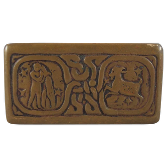Tiffany Studios Zodiac Pattern Bronze Stamp Box