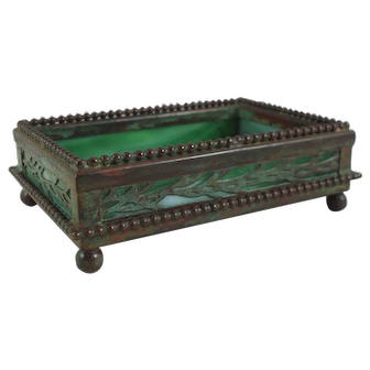 Tiffany Studios Bronze And Favrile Glass Lineal Vine Pine Needle Grapevine Utility Tray