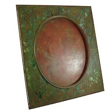 Rare XL Tiffany Studios Bronze And Favrile Glass Grapevine Picture Frame