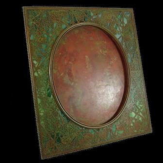 Rare XL Tiffany Studios Bronze And Favrile Glass Grapevine Picture Frame