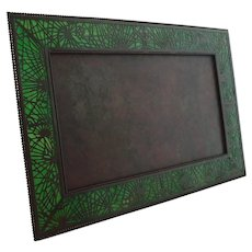 Rare Huge Tiffany Studios Bronze Pine Needle Picture Frame