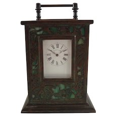 Rare Tiffany Studios Bronze And Favrile Glass Grapevine Carriage Clock