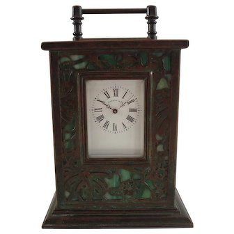 Rare Tiffany Studios Bronze And Favrile Glass Grapevine Carriage Clock