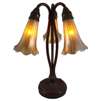 Beautiful Tiffany Studios Bronze 3 Light Lily Lamp Base With Zephyr Lily Shades