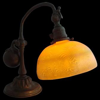 Tiffany Studios Bronze And Favrile Glass Counter Balance Desk Lamp