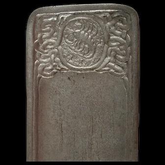 Rare Tiffany Studios Silver Patina Zodiac Pattern Bronze Pen Tray