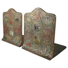Tiffany Studios Bronze Zodiac Pattern Enameled Bookends