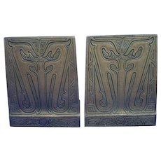 Tiffany Studios Bronze Chinese Pattern Bookends