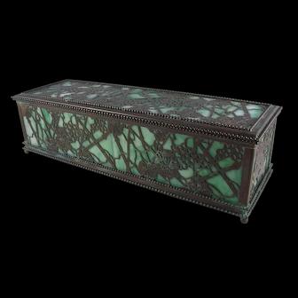 Rare Early Tiffany Studios Grapevine Pattern Bronze And Glass XXL Glove Box