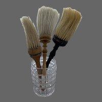 3 Old Horse Hair Brush Whisk Wood Handle
