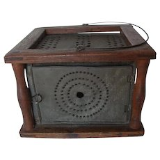 Foot Stove c. 1835 w/ provenance/ Morris, Litchfield Cty CT / Wood & Punched Tin