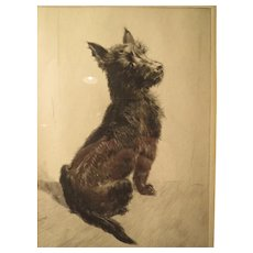 "Leonard Robert Brightwell, illustrator. ""A Spot of Scotch"" etching Scottish Terrier"