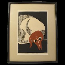 Kiyoshi Saito, Dachshund, woodcut, signed in pencil, (#2 of 2 for sale)