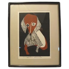 Kiyoshi Saito, Dachshund, woodcut, signed in pencil (#1 of 2 for sale)