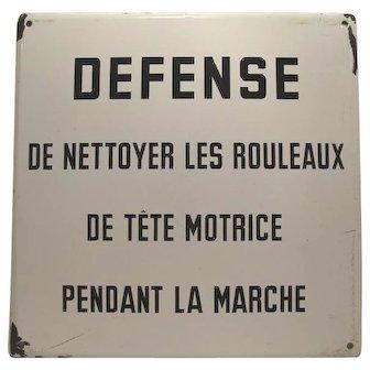 Belgium Industrial Enamel Original Factory Sign French Vintage #2 of 2