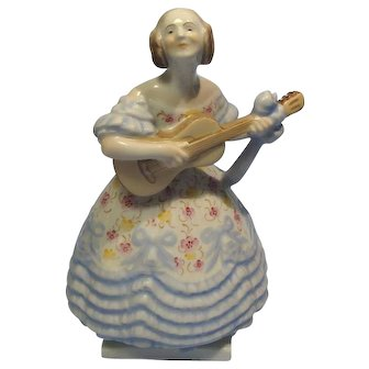 Herend Lady Guitar Mrs Dery Deryne Incised Number & Blue Mark