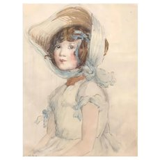 Antique  British Watercolor of a pretty young Lady