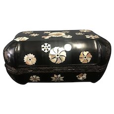 Black Lacquer box with Mother of pearl Inlay
