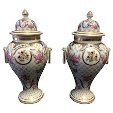 Pair of 19th Century Dresden Porcelain Lidded Urns by Carl Thieme C. 1880