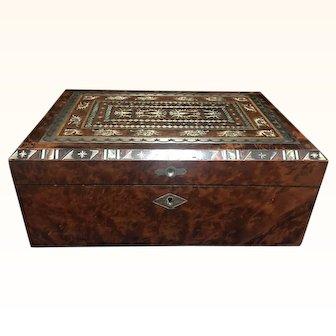 19th Century Mahogany lap/writing desk with abalone inlay.