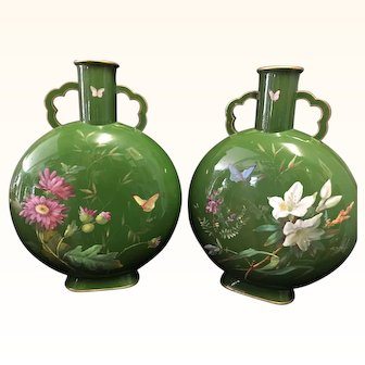 Pair of 19th Century Hand Painted Brownfield porcelain Moon Flasks Vases