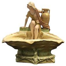 Royal Dux Porcelain Art Nouveau Lady On Shell Centre Piece