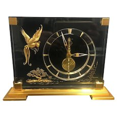 Mid 20th Century Rare Marina Bird of Paradise 8 day Jaeger-Le Coultre Desk Clock