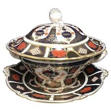 Large English Royal Crown Derby Old Imari Fine Bone China #1128 Soup Tureen