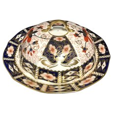 Royal Crown Derby Imari #2451 Fine Bone China England Covered Muffin Dish C.1937