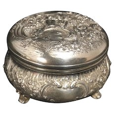 German Dresden 800 Round Silver Repoussé Trinket Box with figures and foliage C.1870
